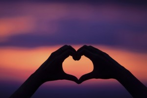 hand heart shape love sunset